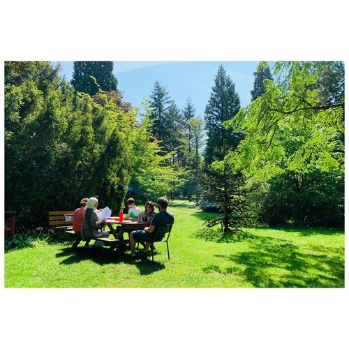 People sitting on bench in park