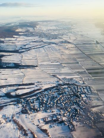 Flying Snow Covered Snow Aerial View Scenics Agriculture Nature Tranquil Scene Landscape Beauty In Nature Patchwork Landscape Rural Scene Cold Temperature Winter Sky View Into Land