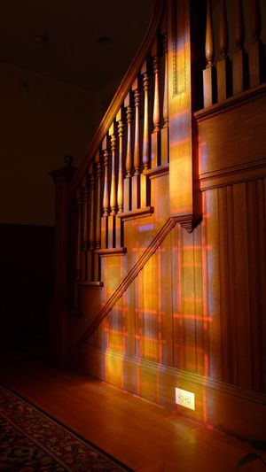 Light From Stained Glass Window On Staircase Indoors