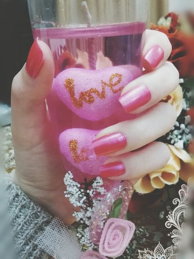 My hand 🌸🌸Pink Pink Flower Glass Cute♡ Nailpolish Pinknails EyeEm Best Shots Beauty Flowers Girly Things Girls Nailart  Pink Rose