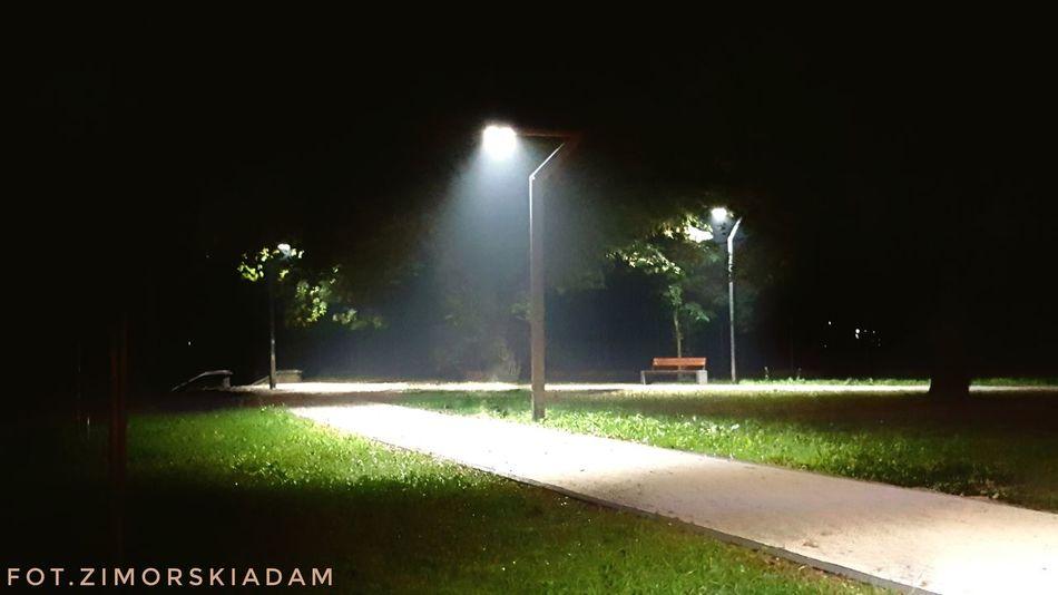 Noc Night Street Light Dark Road Park