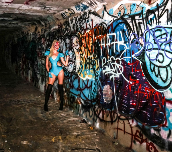 Graffiti Street Art Art And Craft Built Structure Lifestyles Real People Female Model Music David Bowie Tribute David Bowie Dedication Indoors  Tiina K Model Portrait Lady Stardust Face Paint Only Women Arts Culture And Entertainment Fashion Model One Woman Only One Young Woman Only Indoors