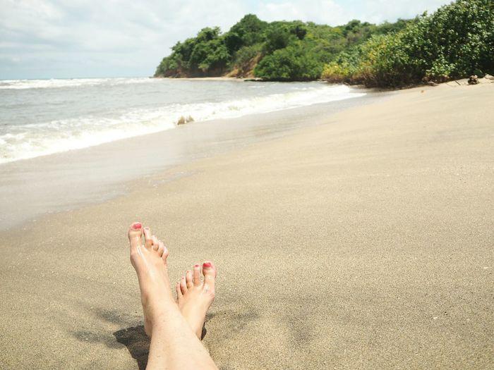 Tropical Low Section Water Sea Beach Relaxation Sand Summer Human Leg Red Women Foot Toe Island Seascape Coastline Coast
