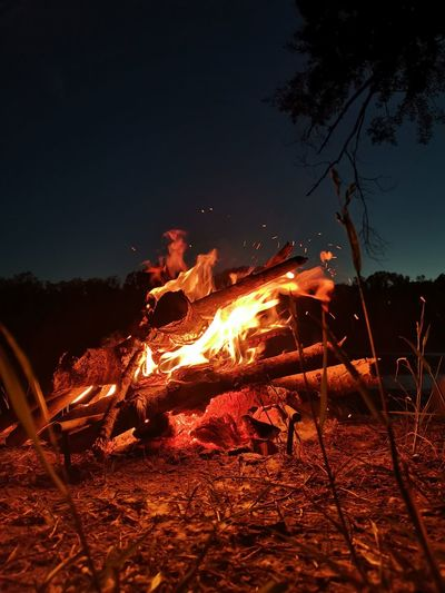 View of fire at night