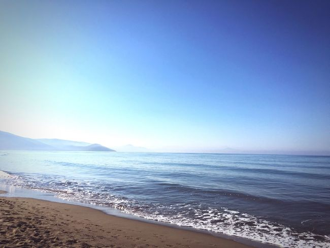 Sea Beach Horizon Over Water Clear Sky Sand Water Blue Beauty In Nature Tranquility Shore First Eyeem Photo