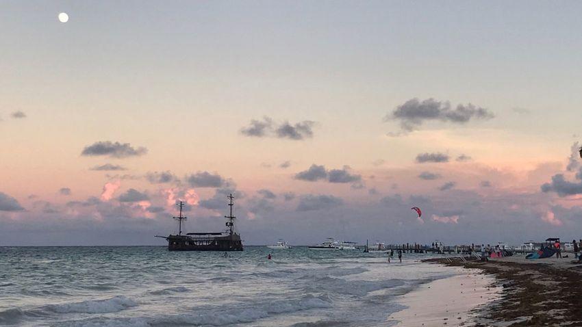 Water Sea Nautical Vessel Transportation Beach Sunset Horizon Over Water Sailboat Beauty In Nature