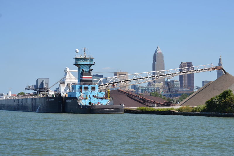 Architecture Building Exterior Built Structure Clear Sky Cleveland Lake Lake Erie Nautical Vessel Outdoors Sky Skyline Transportation Water Waterfront