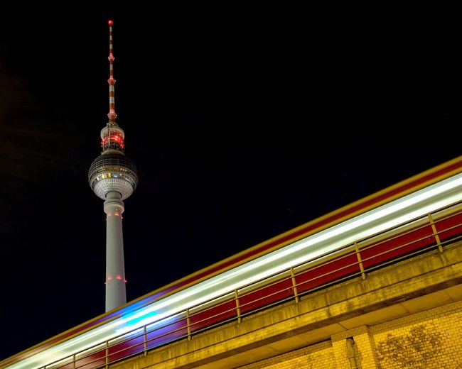 Low Angle View Of Berlin Tv Tower At Night