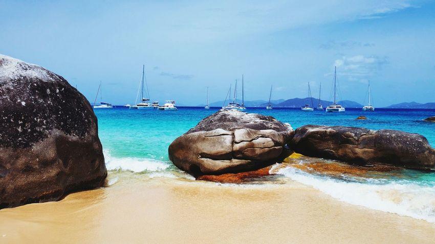 British Virgin Islands Ocean Shore Waves Rocks The Baths Sailing EyeEm Best Shots - Nature Boat Landscape