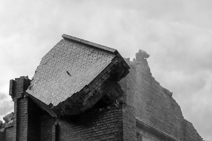 Demolition. black and white Destruction Sky And Clouds Wall Architecture Brick Building Exterior Built Structure Cloud - Sky Day Demolition Low Angle View Nature No People Old Outdoors Ruin Sky Stone Urban