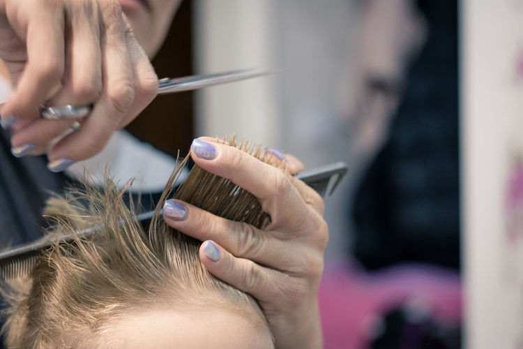 Hairdresser Human Hand Occupation Women Two People Hand Skill  Hair Salon Hair Customer  Working Human Hair Cutting Hair People Close-up Hairstyle Preparation  Hair Care Hair Salon Hair Stylist Barber Barbershop Haircut Styling Child Kid Boy Blond Hair Hairdressing Salon Caucasian Patience