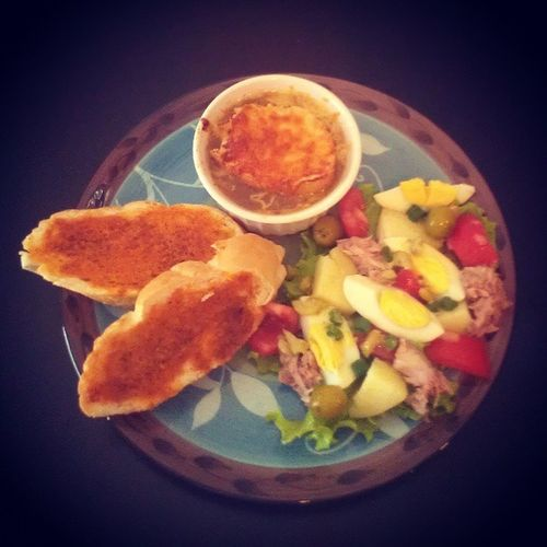 Frugal French at home French Onion soup Salad nicoise baked paprika bread photojournal fooddiary