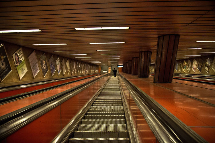 Architecture Built Structure Convenience Day Downstairs Illuminated Indoors  Modern Moving Staircase Moving Stairs Moving Stairway No People Subway Station Technology The Way Forward Transportation