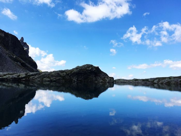 Reflection of rocks in lake against blue sky