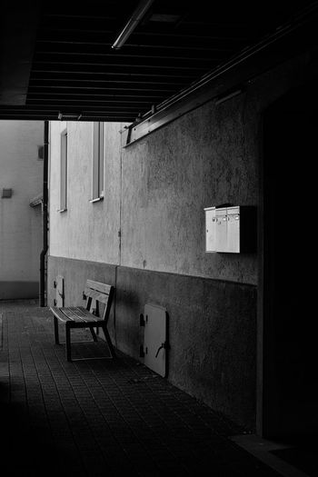 Expect no mercy Architecture Built Structure Wall - Building Feature No People Empty Wall Building Absence Day Abandoned Flooring City Seat Old Door Entrance Lighting Equipment Ceiling Blackandwhite