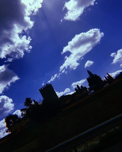 Sky Cloud - Sky Low Angle View Architecture Nature Built Structure Building Exterior Sunlight House Beauty In Nature Tranquility Building Tree Silhouette Scenics - Nature Outdoors Plant No People Day Blue