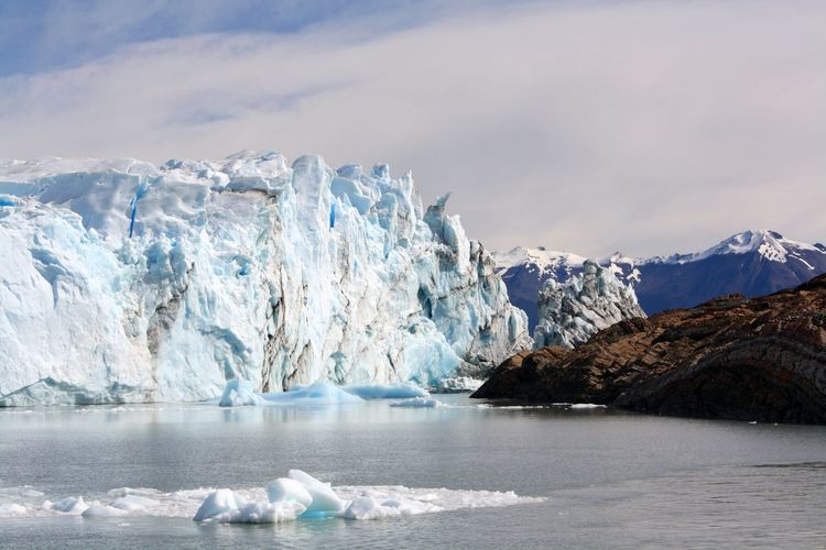 Snow floating on the sea in a spectacular glacial environment