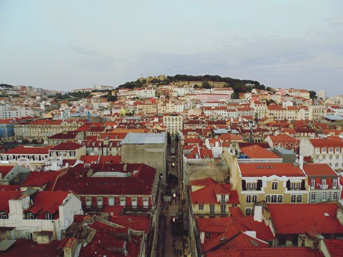 View over Lisbon. S. Jorge's castle. View Over Lisbon Lisbon - Portugal Lisboa Portugal Lisbonlovers Rooftops Architecture Building Exterior Elevador Da Gloria Glória Funicular Arts Culture And Entertainment Outdoors Red Cityscape No People Day City Go Higher