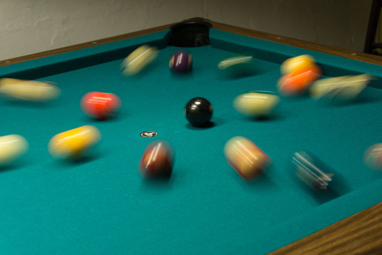 USA Billiards Blurred Motion Break Shot Close-up Eight Ball Still Green Felt Indoors  Motion No People Pocket  Pool - Cue Sport Pool Ball Pool Cue Pool Table Sport Table