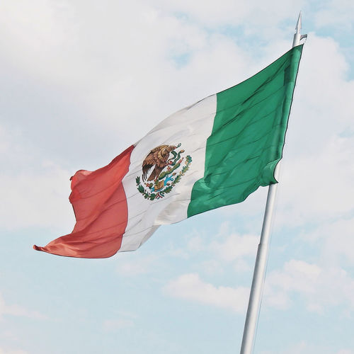 Mexican Flag1 Animal Themes Bandera De Mexico Cloud - Sky Day Flag Flag Pole Fluttering Flying Low Angle View Mammal Mexican Mexican Flag Mexico Mexique Motion No People Outdoors Patriotism Pride Sky Waving Wind