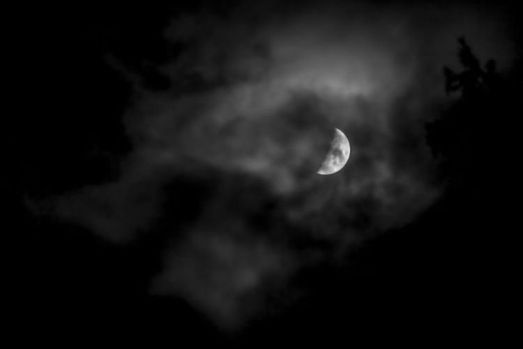 Moon Sky Cloud - Sky Night Beauty In Nature Low Angle View Space Astronomy Scenics - Nature Tranquility Nature No People Planetary Moon Tranquil Scene Dark Outdoors Crescent Space Exploration Idyllic