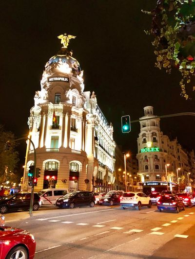Madrid Illuminated Architecture Night Building Exterior Outdoors Built Structure Statue City