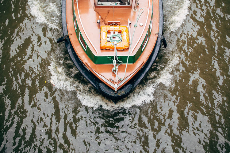 High Angle View Of Boat Moving On River