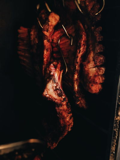 Barbecue Bone  Close-up Directly Above Focus On Foreground Food Food And Drink Freshness Grilled Hanging Healthy Eating Indoors  Meat Nature No People Spice Still Life Wellbeing