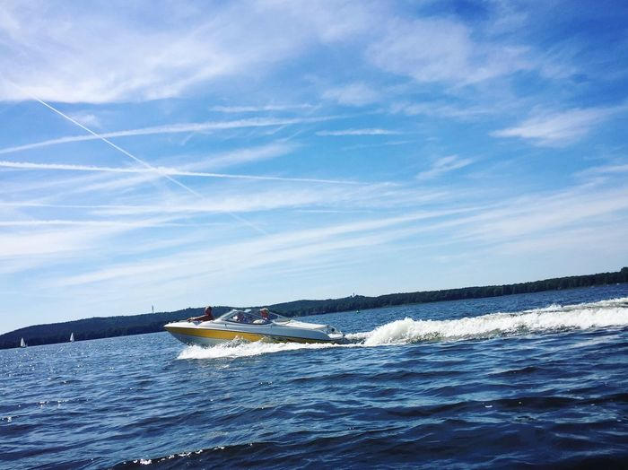 Sea Sky Nature Water Nautical Vessel Beauty In Nature Wave Transportation Scenics Cloud - Sky Outdoors Day Waterfront No People Horizon Over Water Wake Jet Boat