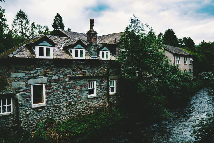 Grasmere River Stream Tree Residential Building House Front Or Back Yard Window Sky Architecture Building Exterior Cloud - Sky Built Structure Ivy Growing Vine Creeper Plant Façade Creeper Overgrown Cottage