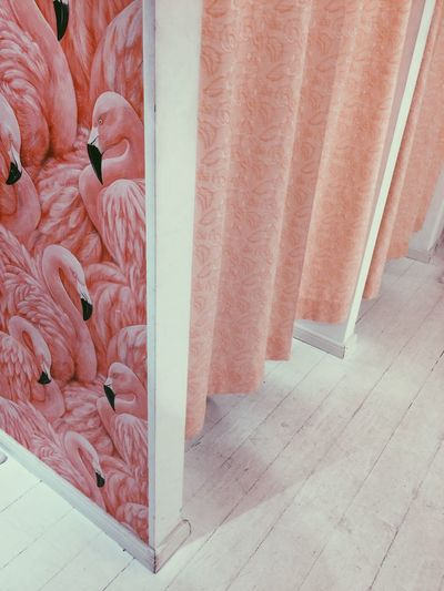 High angle view of patterned wall at dressing room