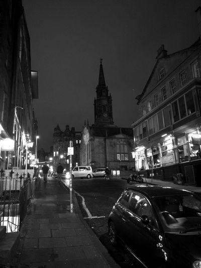 Edinburgh Nights Monochrome Church City Architecture Car City Travel Destinations Built Structure Night Building Exterior City Life Cityscape