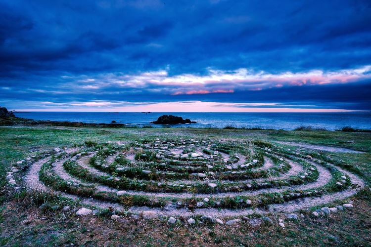 The labyrinth of Lesconil. Labyrinth Sky Sea Scenics - Nature Cloud - Sky Water Beauty In Nature Land Tranquil Scene Horizon Over Water Blue Horizon No People Purple Beach Nature
