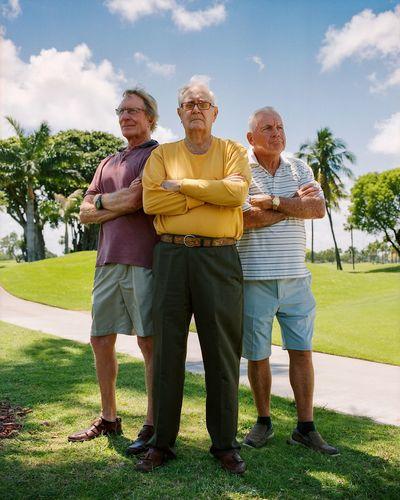 Golf Buddies Angry Badass Film Friends Golf Golf Course Miami Power Arms Crossed Arms Folded Buddies Florida Friends ❤ Friendship Golf Club Grandpa Medium Format Old Men Portrait Powerful Senior Senior Adult Senior Men Stern Three Men