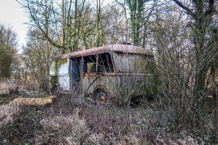 Tree Abandoned Plant Land Transportation Day No People Bare Tree Obsolete Nature Field Forest Damaged Run-down Mode Of Transportation Old Deterioration Decline Architecture Built Structure Outdoors Wheel