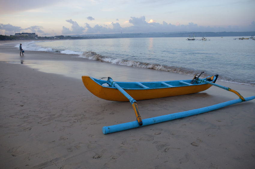 Morning at Kedonganan Beach Bali Beach Beach Beauty In Nature Blue Canoe Indoors  Kedonganan Moored Nature Nautical Vessel No People Outdoors Sand Scenics Sea Sky Sunset Tranquil Scene Tranquility Transportation Vacations Water