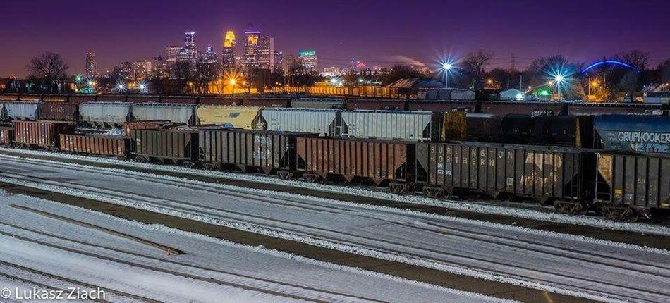 I love the Minneapolis skyline. Night City Urban Skyline Cityscape No People Minneapolis Minnesota Train Yard Nightphotography EyeEm Best Shots Eyeemcityscapes Winter Train