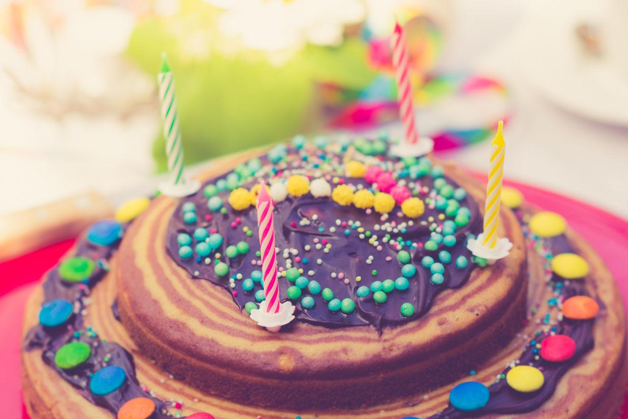 High Angle View Of Birthday Cake