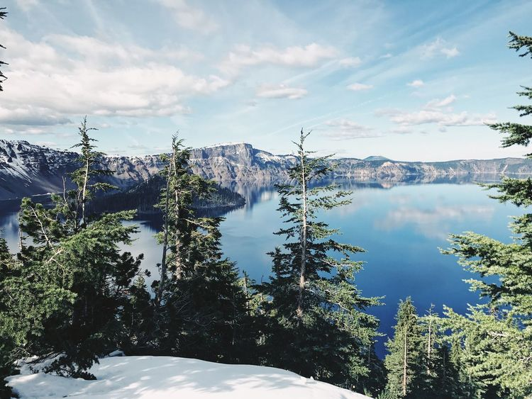 Crater Lake National Park Reflections Trees Snow Cloud - Sky Mountain Range Outdoors No People Beauty In Nature Sky Day Nature Tranquil Scene Tree Reflection Scenics Lake Tranquility Water Mountain Crater Lake Crater Lake National Park Oregon Travel Cold Winter Fall