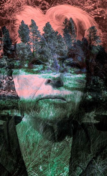 unusual colors multiple layers Double Exposure Looking At Camera Pink Straight On View Textured  Trees Close-up Day Face Nature One Person One Woman Only Outdoors Self Portrait Tree Unusual Color Water