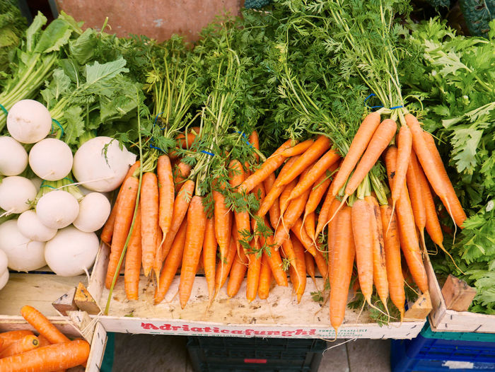 Abundance Carrot Choice Close-up Day Food Food And Drink For Sale Freshness Healthy Eating High Angle View Large Group Of Objects Market No People Outdoors Raw Food Retail  Root Vegetable Variation Vegetable