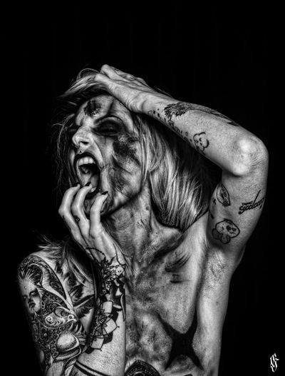 Blackandwhite Portrait Photography Guntphotoart Tattoo Beautiful Woman Photooftheday Tattooed Inked Mywork Studio Shot Tattoo Life Scream Catching The Emotions In A Shot Beauty Eyes Closed