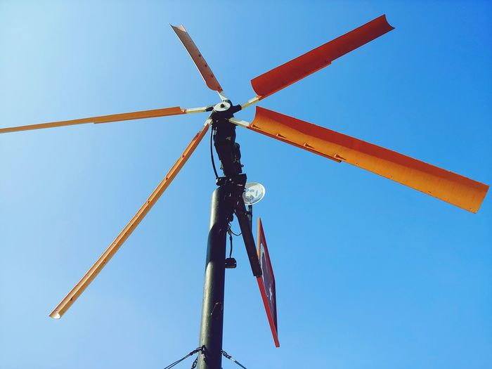 Low angle view of traditional windmill against clear sky