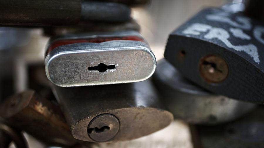 Close-up of various padlocks