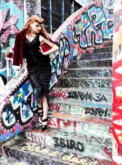 Fashion Graffiti Multi Colored Full Length Young Adult Elégance Beautiful Woman Fashion Model Outdoors Desinger Glamour Beauty Well-dressed Model Life Dressed To Impress Dresses Redhead Beautiful People Lifestyles Young Women Adults Only One Person Portrait Only Women