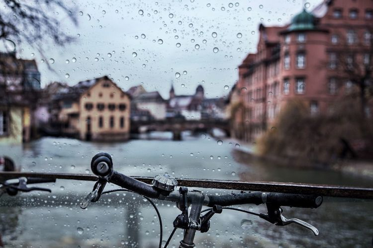 Water drops on buildings during rainy season