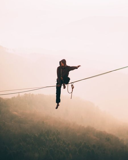 One Person Full Length Adventure Leisure Activity One Man Only Adults Only Extreme Sports Outdoors Sky Day Young Adult People Only Men Adult High Up Balance Switzerland Gempen Sunset Light Minimalism Live For The Story Breathing Space