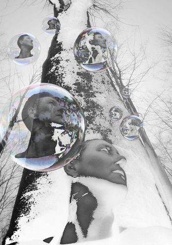 The Portraitist - 2017 EyeEm Awards Portrait Photography Tree One Person Lookingup Mirror Reflection Soap Bubbles Forest Blackandwhite Photography Negative Effect Outdoor Photography
