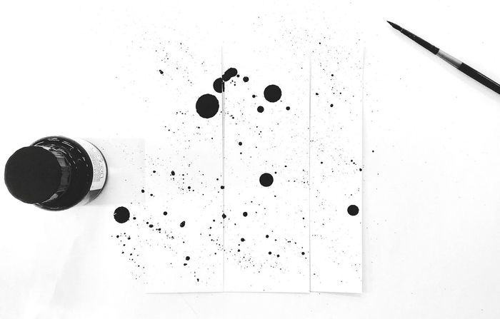 Black & White Ink Indian Ink Brush Creativity Dots Drops Black