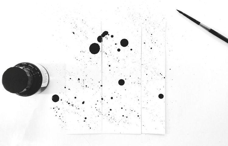 Black & White Ink Indian Ink Brush Creativity Dots Drops Black